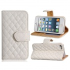 Plaid Pattern Protective PU Flip-Open Case w/ Stand / Card Slots for IPHONE 5 / 5S - White