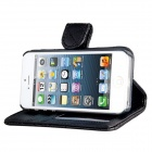 Plaid Pattern Protective Flip-Open PU Case w/ Card Slots / Stand for IPHONE 5 / 5S - Black