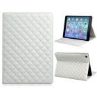 Grid Pattern Artificial Leather + TPU Case w/ Stand for IPAD AIR - White