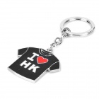 Cute Stylish Patterned T-shirt Style Pendant Stainless Steel Key Chain - Silver + Black