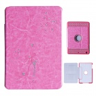 Fashion Diamond Protective PU Leather Case for IPAD MINI 1/2 - Deep Pink