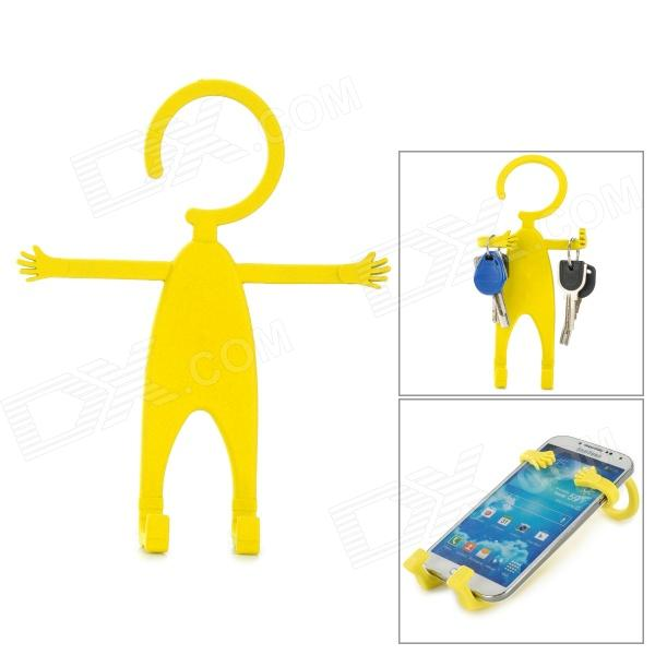 TZ-SJ001YW Multifunction Universal Human-Style Silicone Cellphone Holder - Yellow