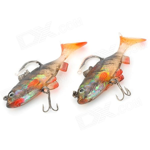 Lifelike Goldfish Style Soft Silicone Fishing Baits w/ Hook - Black + Yellow