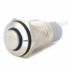 16mm Installation Hole Self-locking Push Switch for Car / Electric Appliance - Silver + Blue