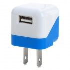 USB 5V 1A US Plug Power Charging Adapter for IPHONE / IPAD + More - White + Deep Blue