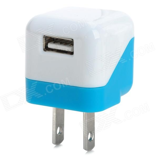 USB 5V 1A US Plug Power Charging Adapter for IPHONE / IPAD + More - White + Light Blue 10w power adapter extension cable for macbook ipad us plug 160cm length