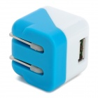 US Plugs Power Charger Adapter para IPHONE IPAD - Branco + Azul Claro