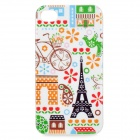 Eiffel Tower  + Bicycle Pattern Protective TPU Case for IPHONE 4 / 4S - White + Black