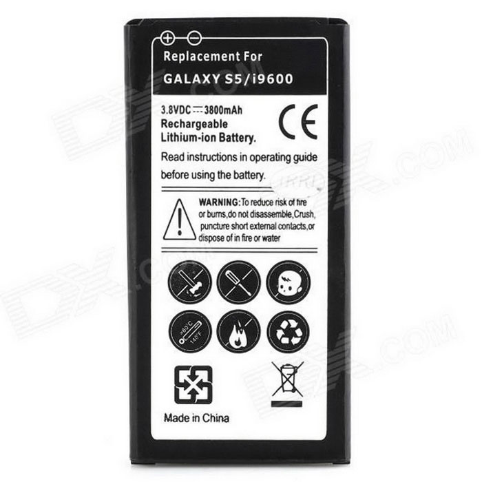 "Replacement ""3800mAh"" Li-ion Battery for Samsung Galaxy S5 - Black"