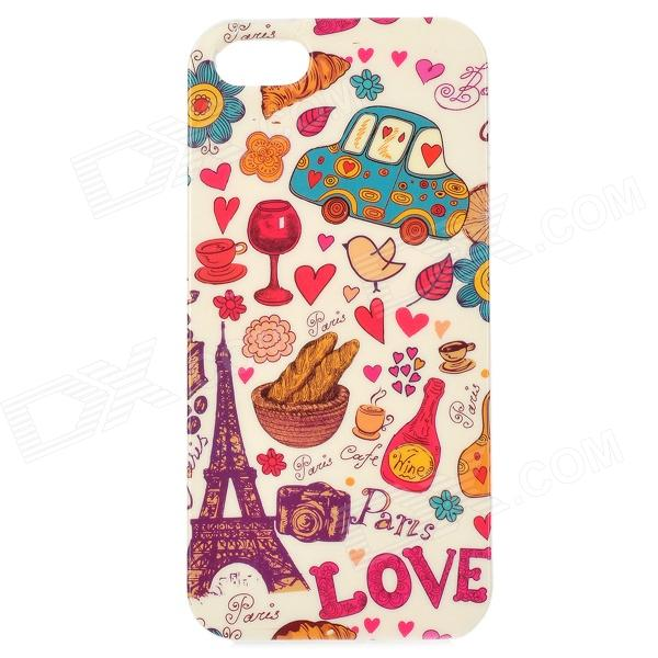 цены Eiffel Tower + Car Pattern Protective TPU Case for IPHONE 5 / 5S - White + Red