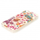 Eiffel Tower + Car Pattern Protective TPU Case for IPHONE 5 / 5S - White + Red