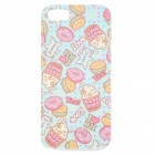 Cake Biscuit Pattern Protective TPU Case for IPHONE 5 / 5S - Blue + Pink