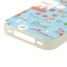 Universal Cartoon Pattern TPU Back Case for IPHONE 4 / 4S - Blue + White