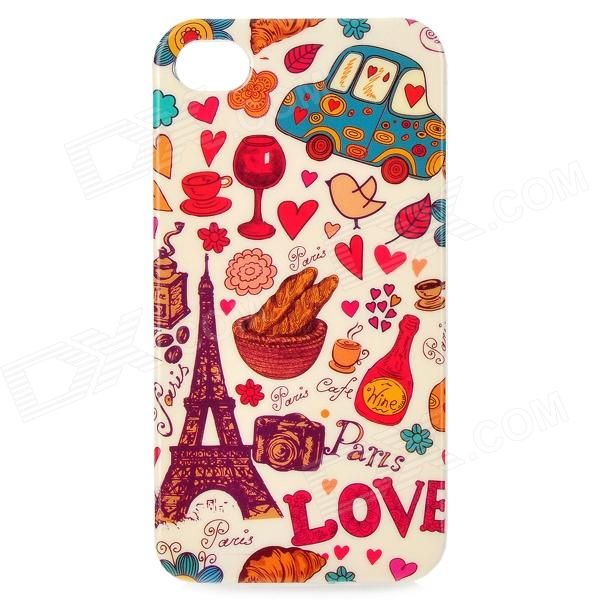 Eiffel Tower + Car Pattern Protective TPU Case for IPHONE 4 / 4S - Yellow + Red