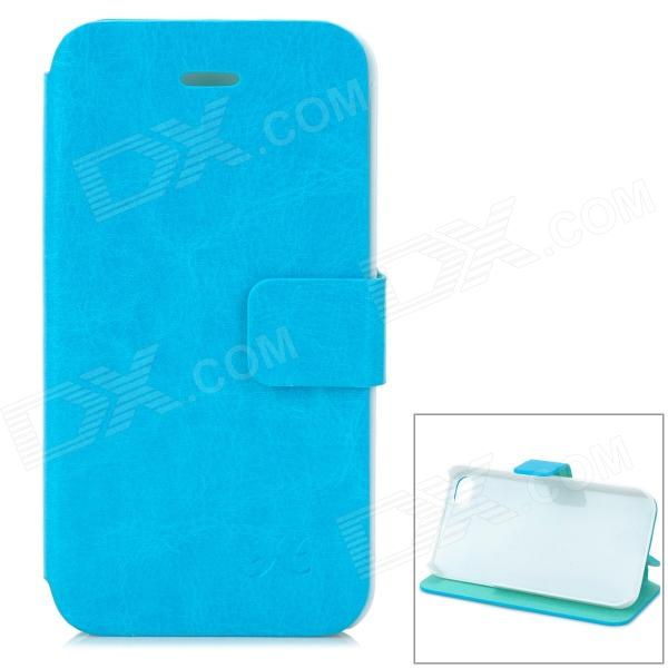 Hualaishi Protective PU Leather + ABS Case w/ Stand for IPHONE 4 / 4S - Blue + White