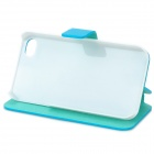 Hualaishi Protective PU Leather Case + ABS w / Stand para IPHONE 4 / 4S - azul + blanco