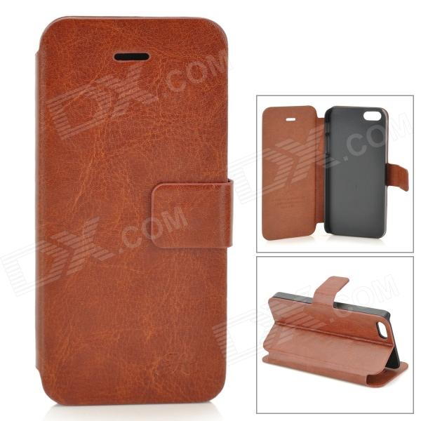 HuaLaiShi Protective PU Leather + ABS Case w/ Stand for IPHONE 5 / 5S - Brown + Black pu leather wallet stand design case for iphone 5 5s black