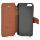 HuaLaiShi Protective PU Leather + ABS Case w/ Stand for IPHONE 5 / 5S - Brown + Black
