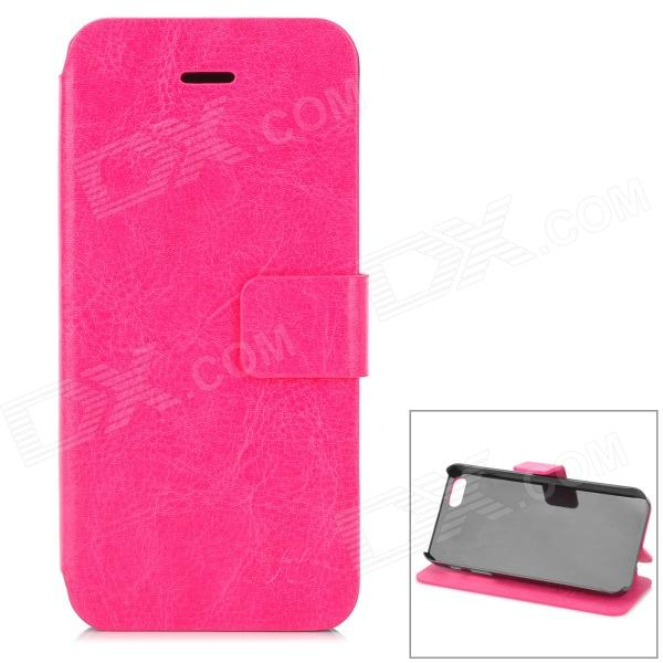 Hualaishi Protective PU Leather + ABS Case w/ Stand for IPHONE 5 / 5S - Deep Pink + Black pu leather wallet stand design case for iphone 5 5s black
