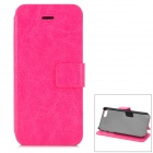 Hualaishi Protective PU Leather + ABS Case w/ Stand for IPHONE 5 / 5S - Deep Pink + Black