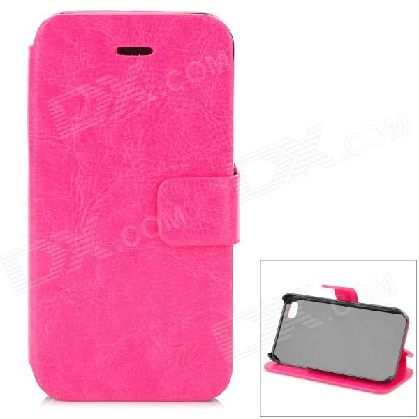 Hualaishi Protective PU Leather + ABS Case w/ Stand for IPHONE 4 / 4S - Deep Pink + Black silk style protective pu leather plastic case for iphone 4 4s deep pink