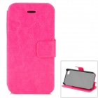 Hualaishi Protective PU Leather + ABS Case w/ Stand for IPHONE 4 / 4S - Deep Pink + Black