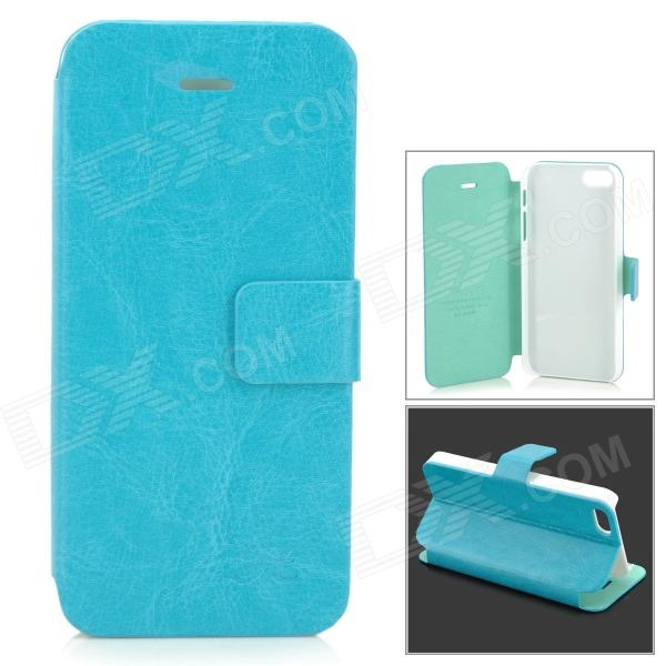 HuaLaiShi Protective Flip Open PU Leather + ABS Case w/ Stand for IPHONE 5 / 5S - Blue + White cake biscuit style protective flip open pu leather case w stand for iphone 4 4s white pink