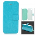 HuaLaiShi Protective Flip Open PU Leather + ABS Case w/ Stand for IPHONE 5 / 5S - Blue + White
