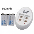 GOOD GD-840 Automatic Charger for 6F22(9V) Ni-MH / Ni-Cd Batteries w/ 6F22 9V 500mAh (2PCS) - White