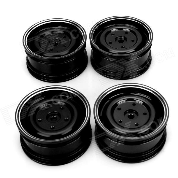 Universal DIY 1:10 Aluminum Alloy Wheel for Model Car - Black (4 PCS) 1 18 ford 1967 mustang gta fastblack car black and green zinc alloy car model diecast for collection boys toys gifts