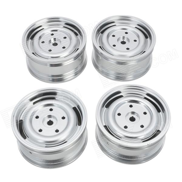 Universal DIY 1:10 Aluminum Alloy Wheel for Model Car - Silver (4 PCS) diy stainless steel motor universal coupling silver 4 x 4mm