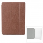 Three Fold Protective PU + Plastic Flip Open Case w/ Stand for IPAD AIR - Brown + Transparent