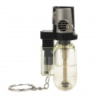 6594 Stylish Windproof Butane Jet Lighters w / Keychains - Black + Silver + Transparent