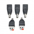 LOSN Male 5.5 x 2.5mm DC Plug DC Power Connector - Black (5 PCS)