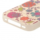 Birds & Flowers Pattern TPU Back Case for IPHONE 4 / 4S - Red + purple