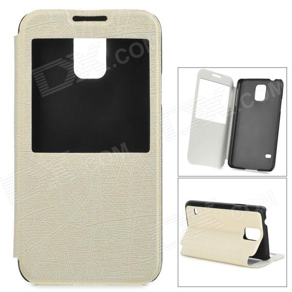 miniisw C-3 PU Leather Flip Open Case w/ Display Window for Samsung Galaxy S5 - Off-White + Black stylish flip open pu pc case w display window for samsung galaxy s5 white