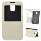 miniisw C-3 PU Leather Flip Open Case w/ Display Window for Samsung Galaxy S5 - Off-White + Black