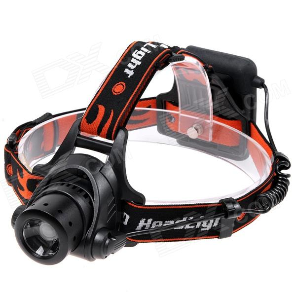 NEW-003A 3-Mode White Zoom LED Headlamp - Black (4 x AA)