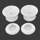 Replacement Plastic 3D Joystick Cap w/ Anti-slip Silicone Cover for PS4 - White (2 Pairs)