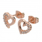 Rigant 750036 Shiny Rhinestone Inlaid Sweet Hear Shaped Earring - Golden + Translucent White (2 PCS)