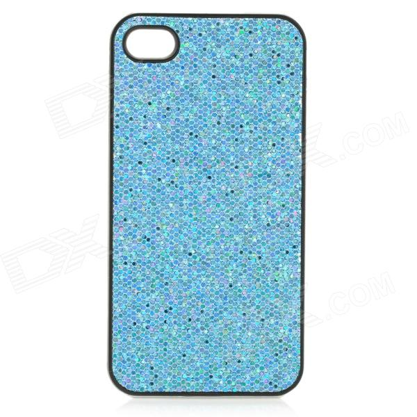 SFLP-122 Shimmering PC Protective Back Case for IPHONE 4 / 4S - Blue kajsa carbon fiber aluminum coated pc back shell for iphone 7 4 7 gold