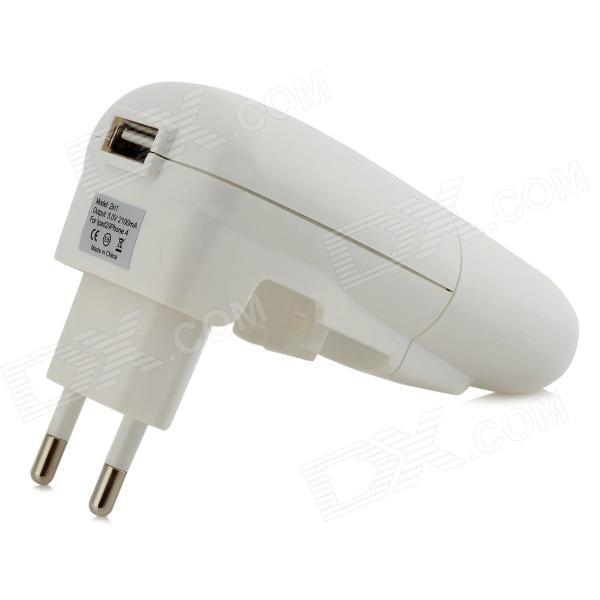 5V 1A USB Car Charger + EU Plug Power Adapter w/ Indicator - White (AC 100~240V)