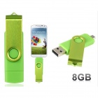 Pandaoo Rotatable OTG Micro USB + USB 2.0 Flash Drive for Cell Phones & Tablet PC - Green (8GB)