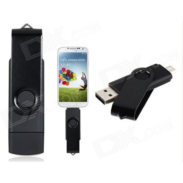 Rotatable OTG Micro USB + USB 2.0 Flash Drive for Cell Phones / Tablet PC - Black (32GB)