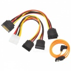 Universal SATA 3.0 4-pin to 15-pin Power Cable Deconcentrator - Black + Blue + Multi-Colored