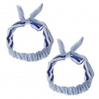 YF001 Cute Rabbit Ear Style Hair Band Strap - Blue + White (2 PCS)