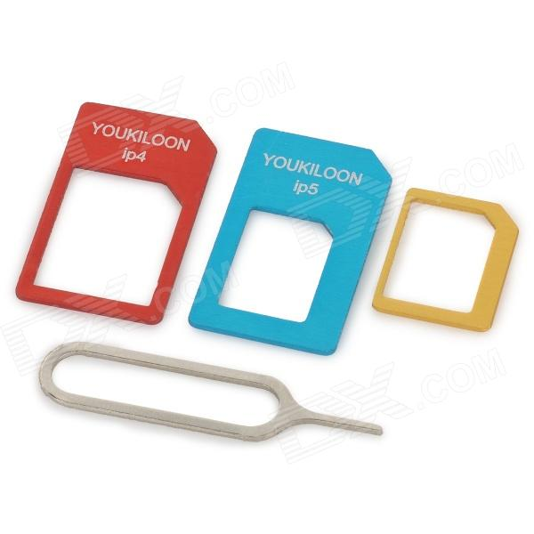 Youqilong Micro SIM Adapter + Nano SIM Adapter for IPAD 4 / IPAD 5 Set - Red + Blue + Yellow