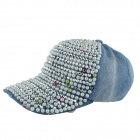 Fashion Pearl + Rivets Rhinestone Cap for Women - Denim Blue + Silver