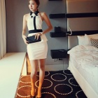 NRJ 3751# Sexy Nightclub Net Yarn Splicing Dress for Women - White + Black