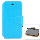 Silk Pattern Protective PU + Plastic Case w/ Stand for IPHONE 4 / 4S - Light Blue